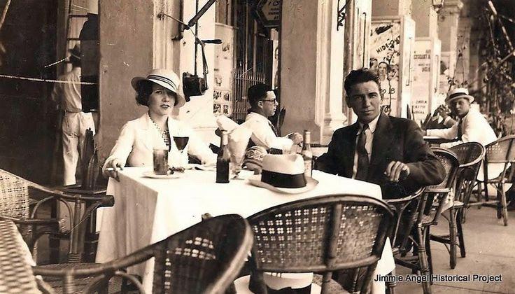 Outdoor café in Prado Street, Havana, Cuba. 1920