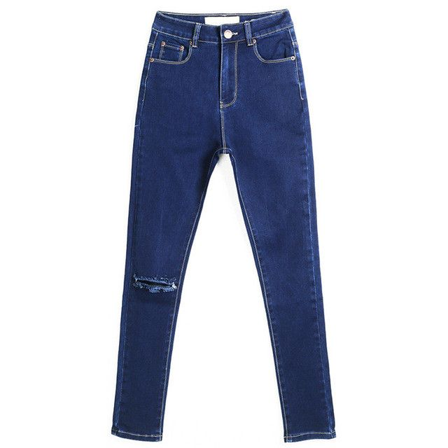 New Arrival Skinny Jeans For Women Slim Pencil Pants Knee Hole Design Jeans Women Plus Size Cowboy Pants