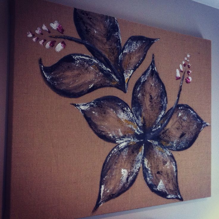 Hibiscus on Hessian 1200 x 900 x 30mm