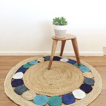 Jute rug with re-coloured circles.