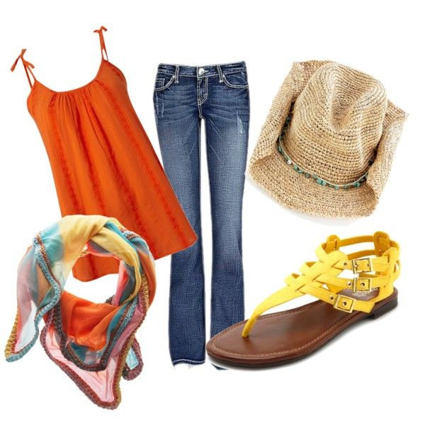 Orange Summer and Jeans, created by steenta on Polyvore