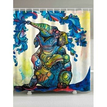 Waterproof Elephant Floral Shower Curtain