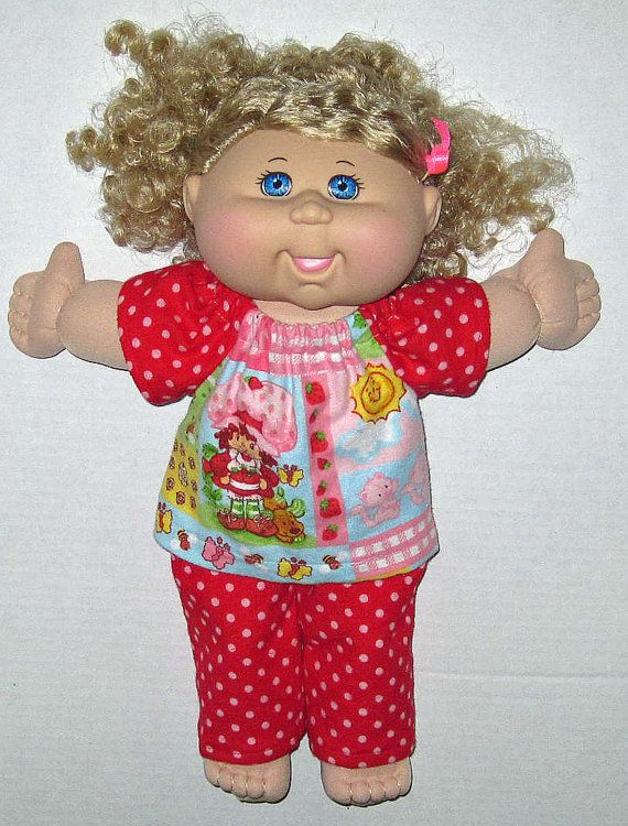 """Cabbage Patch Doll Clothes Strawberry Shortcake Pajama Set  for 14"""" or 15""""  Doll Girl"""