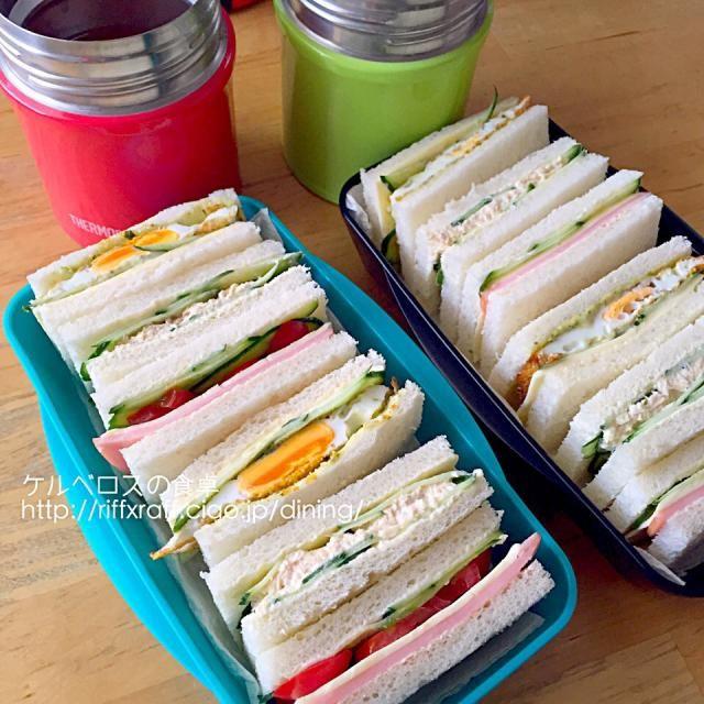 サンドイッチ(目玉焼きハムチーズ、ツナとキュウリ、ハム野菜)、トマトスープ - 19件のもぐもぐ - 弁当2015.4.6 by lottarosie