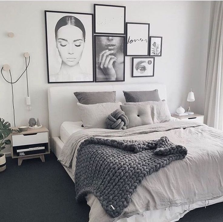 Contemporary Scandinavian Female Bedroom Monochrome Black White And Gray Bed Minimalist Bedroom Design Home Decor Bedroom Scandinavian Design Bedroom