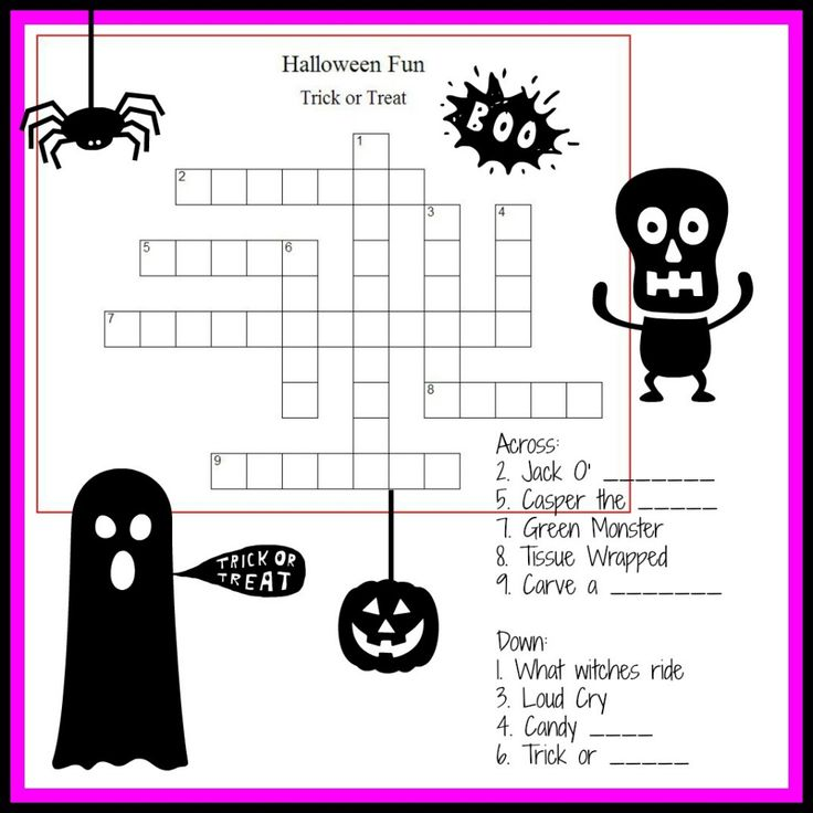 Halloween Crossword & Puzzles for Kids