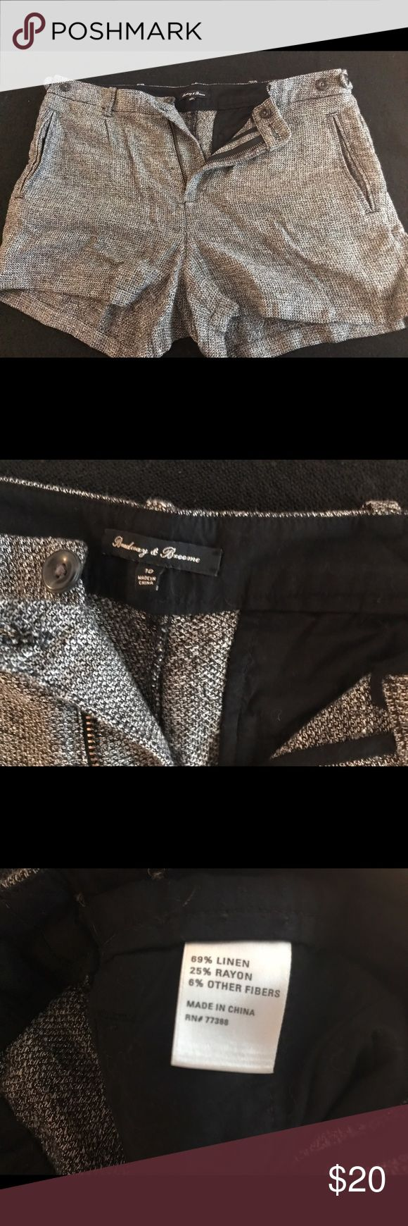 EUC Madewell Size 10 gray sparkly shorts EUC These Broadway and Broome brand (bought at Madewell) cute gray sparkly shorts are size 10. These have been worn once, no missing buttons or signs of wear. Useable pockets, and cute button detail on waistband. Madewell Shorts