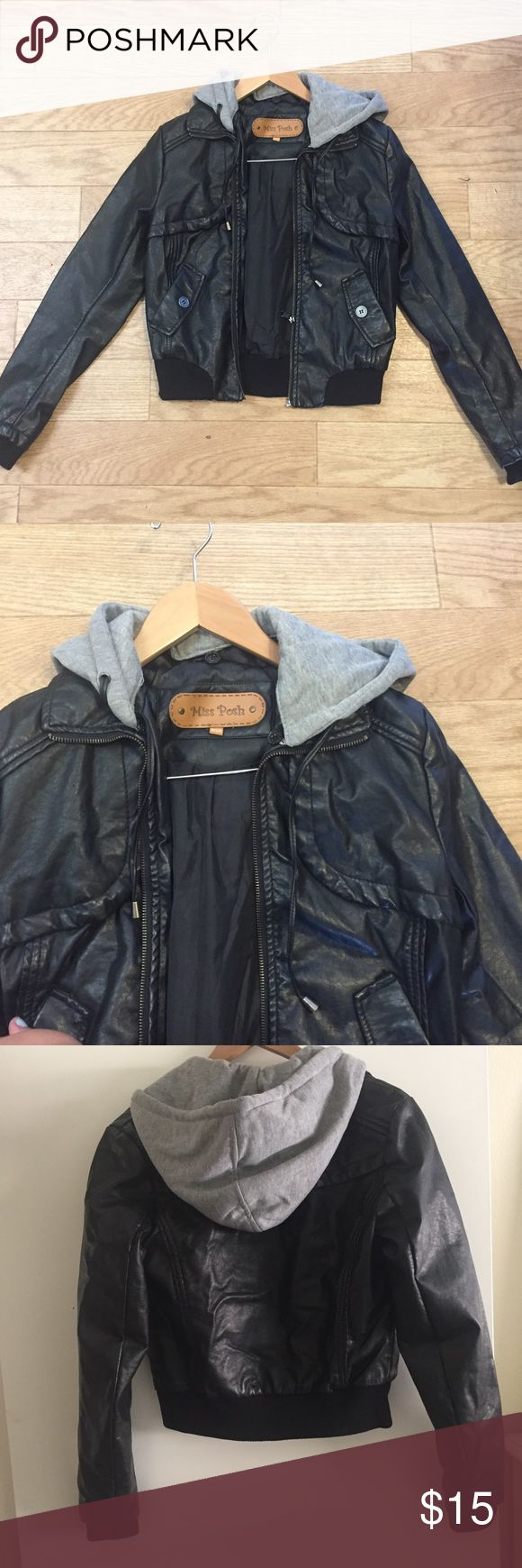 Black Faux Leather Jacket ⬛️⬛️⬛️ Comfortable and warm jacket. Worn only a few times. In great condition, no tears, missing buttons nor stains. Removal hood. Jackets & Coats Utility Jackets
