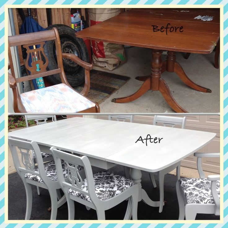 Distressed Kitchen Chairs Ikea Freestanding Duncan Phyfe Chalk Painted Dining Room Set | Paint ...