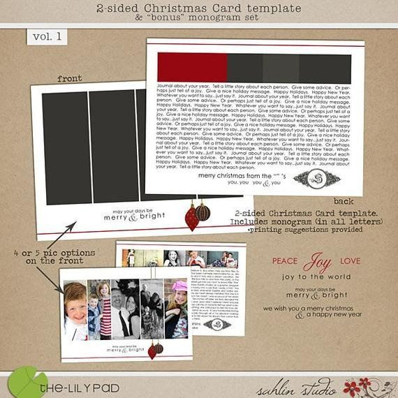 Two Sided Postcard Template 2 Sided Christmas Card Template Bonus Monogram Vol1 For Christmas Card Template Postcard Template Card Template