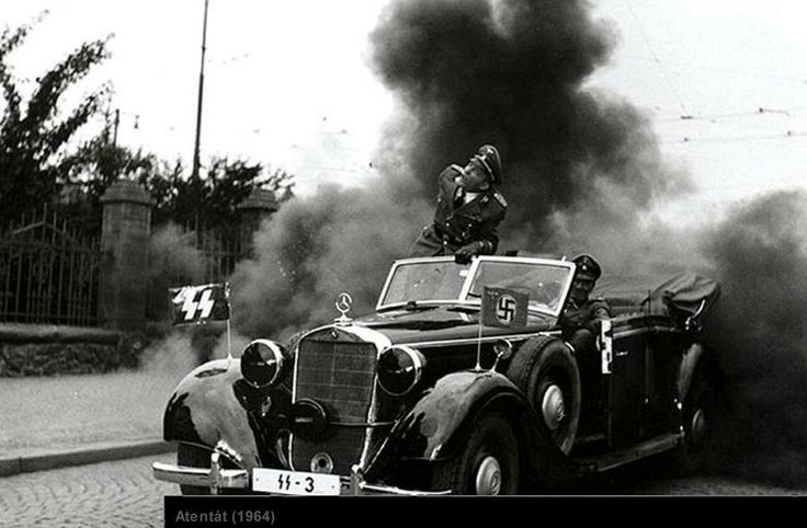 "History of Czechia - Photo from the film ""Atentát"" (dir.J.Sequens, 1964). 27th May 2016, 74 years has passed from the day when Czech paratrooper Jan Kubiš threw a bomb on the car carrying Reinhard Heydrich, The Reich´s protector, general of police and the third highest man within Germany's ""Third Reich"", resulting in death of ""the hangman of Czech nation."""