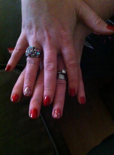 Rode gelish met glitters