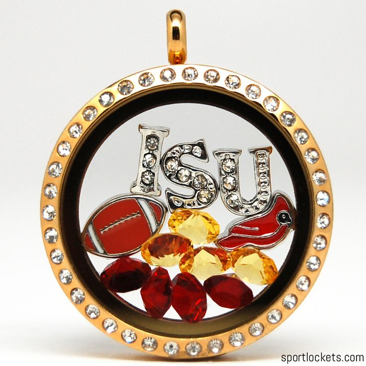 Iowa State football themed locket necklace from SportLockets.com.  Customize with your own letters!