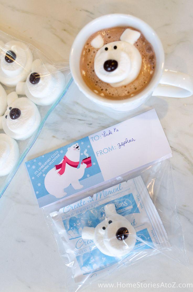 Polar bear marshmallows hot chocolate Valentine
