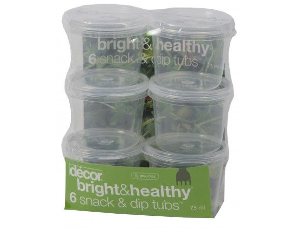 Bright & Healthy® 6 Snack & dip tubs™, 75 ml The Snack & Dip Tubs™ allow you to compliment your Bright & Healthy® lunch with tasty treats. They are available in two handy sizes, 75ml and 150ml.