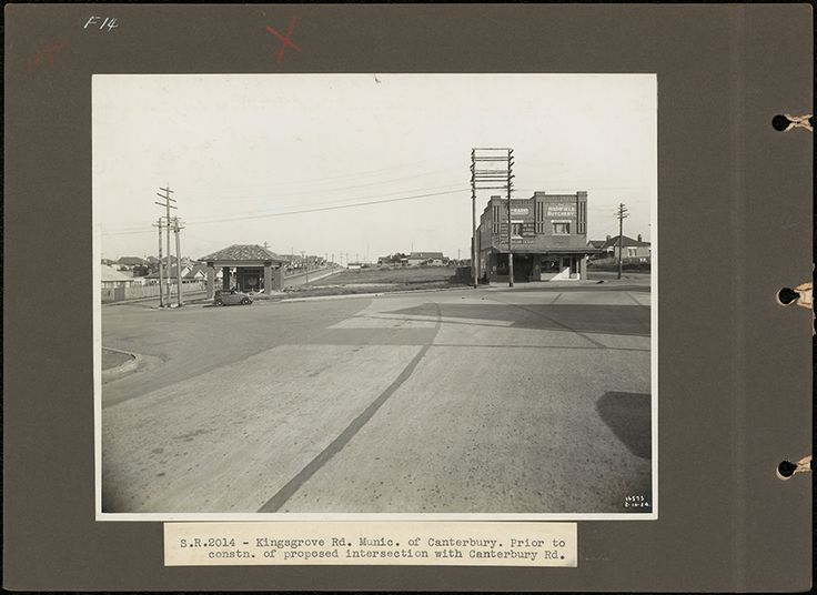 Kingsgrove Road prior to construction of proposed intersection with Canterbury Road, 1934. Courtesy State Records NSW.