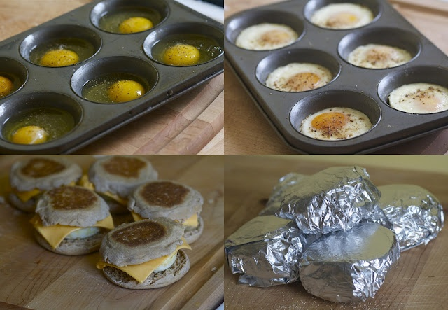 homemade egg mcmuffins that you can freeze and reheat in the oven in the morning? done.