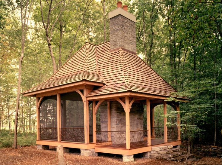 Screen house garden buildings trellis pinterest screen house screens and house - Outdoor gazebo plans with fireplace ...