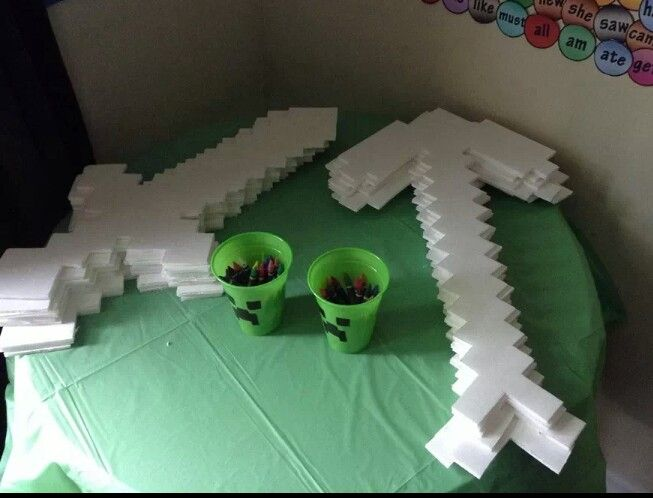 Minecraft Party, Figure out how to do DIY swords and axes -- http://debduzscrappin.blogspot.com/2013/03/gift-minecraft-sword.html