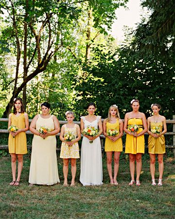 Six girls selected their own yellow dresses for this summer wedding