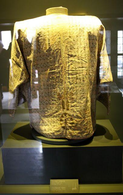 Konya Mevlana müzesi Sultan Veled'e ait tılsımlı (dualı) gömlek. Talismanic consecrated shirt Mewlana Jalaluddin Rumi Museum TURKEY.