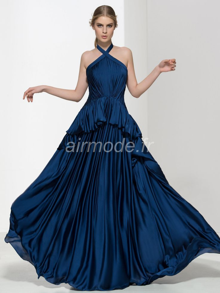 fournitures de airmode.frlongue soirée d'hiver de volants, simple et décontractée sweep / naturelles brosse robe bleu Robes de Bal Vintage