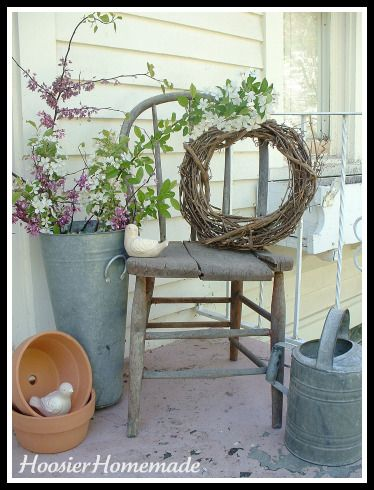 From Frugal Decorating with Antique Chairs. Love their ideas http://hoosierhomemade.com/frugal-decorating-with-antique-chairs/