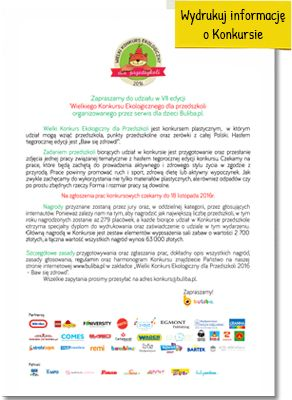 Konkurs Ekologiczny dla przedszkoli i dzieci - Baw się zdrowo- Buliba.pl
