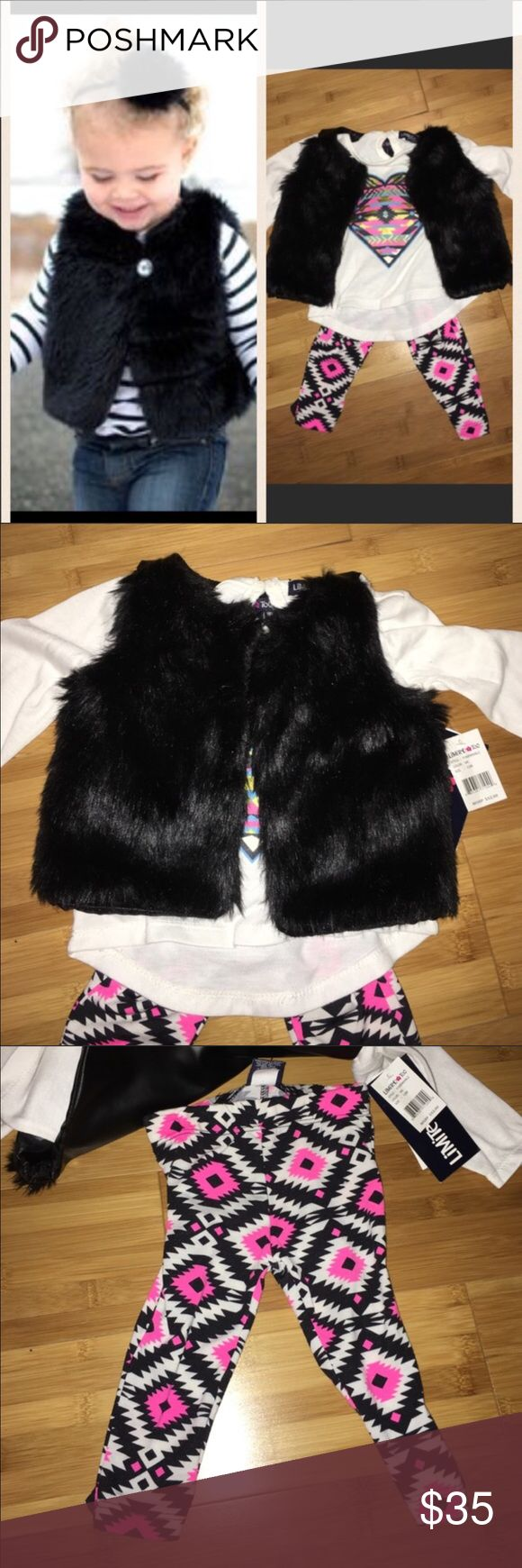Limited Too 3 pcs fur vest set Really beautiful Limited Too black fur vest 3 pcs set. With Aztec print pants and cotton pink heart shirt. Size 12 months. Originally $52. The Limited Shirts & Tops Tees - Long Sleeve