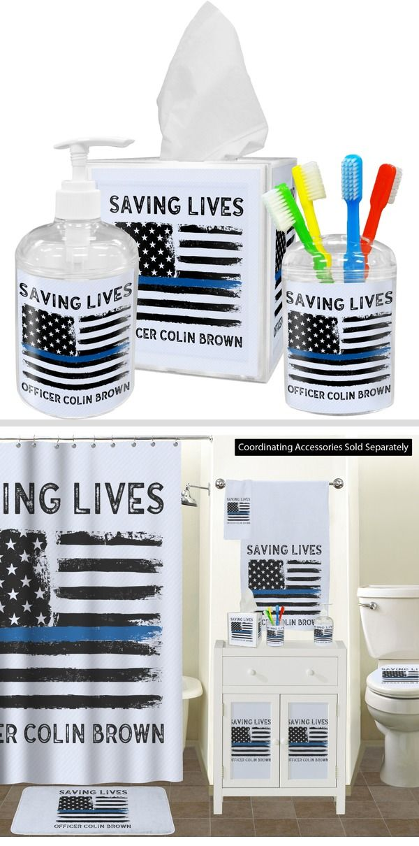 Blue Line Police Bathroom Accessories