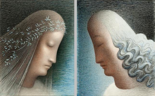 Zvěstování ~ Annunciation; Jan Zrzavý - Panna Maria a Archanděl Gabriel, 1952