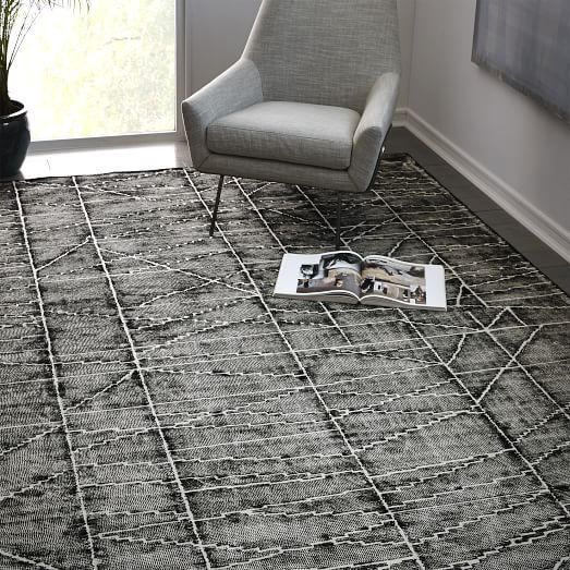 Erased Lines Wool Rug Iron West Elm Home Floor