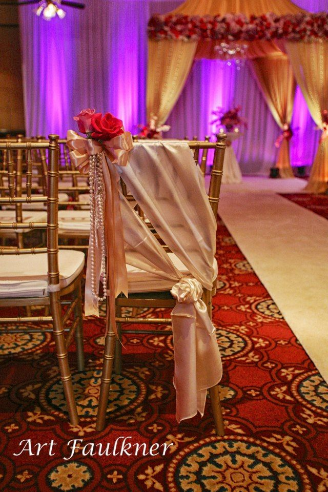 This Gold Chiavari Chair By A Affair Event Rentals Orlando Looks Exquisite Draped With Satin Pearl And Red Rose Accents