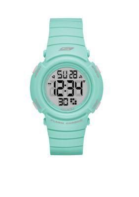 Skechers  Womens Fisher Digital Grey and Mint Strap Watch