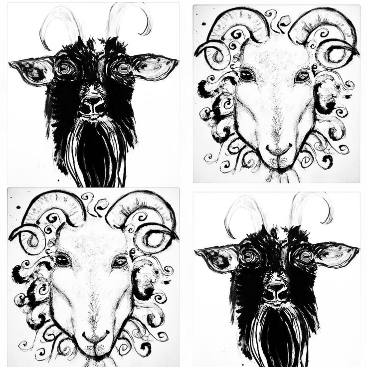 Black Philip and Aries Ram ink drawing repeat pattern by Lizzie reake