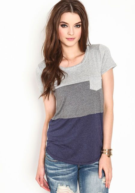 color block jersey tee for a 2/4