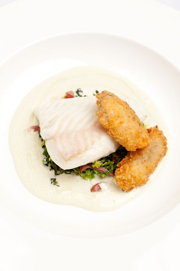 Turbot with oysters, cabbage and bacon by Pete Biggs