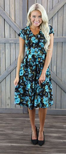 This floral A line is a classic style for spring or fall. With a slight V…