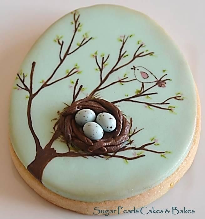 Spring Bird Nest Sugar Pearls Cakes and Bakes