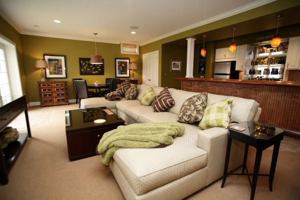 Basement Decorating Ideas On A Budget: FUNCTIONAL BASEMENT SET-UP With Bar, Lounge Seating And