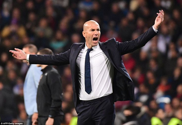 Real Madrid legend and manager Zinedine Zidane reacts during the Saturday evening game at ...