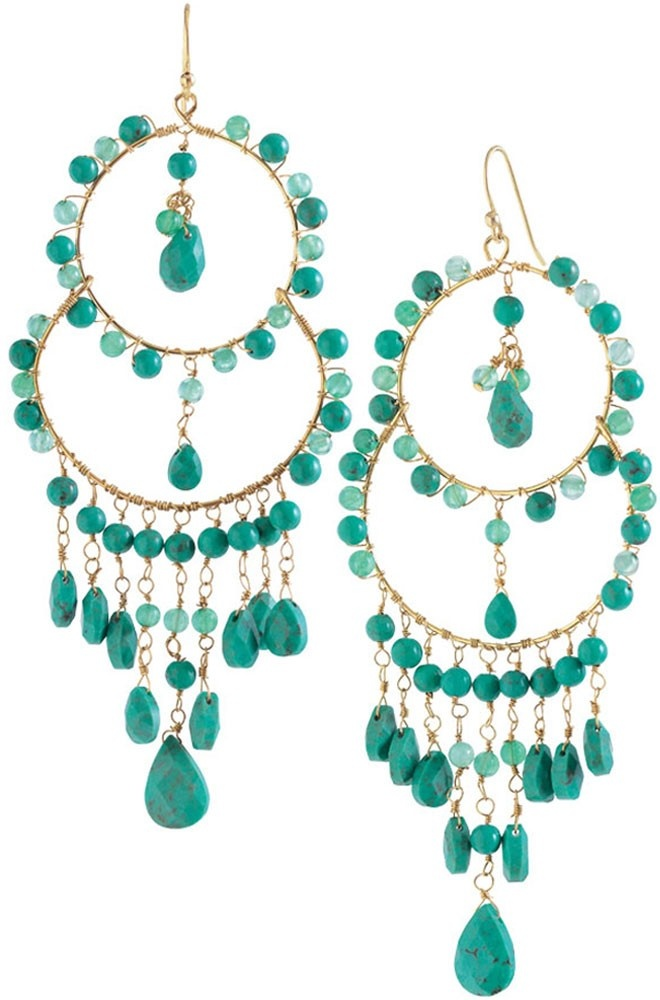Turquoise Jade Gold Chandelier Earrings Azure Couture