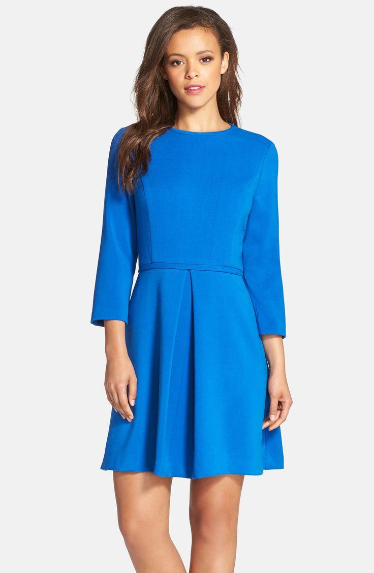 Eliza J Pleated Crepe Fit & Flare Dress | Nordstrom