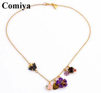 Золото ссылка милый камни эмаль esmalte ожерелья colorful цветок украшение подарки для нее леди женщина бабочка колье