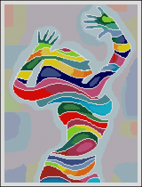 Abstract Girl - Counted Needle Point and Cross Stitch Chart Patterns. $18.00 via Etsy.
