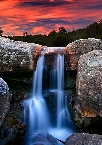 ~~Sunset Cascade ~~ waterfall and sunset, upper Wattamolla Creek, Royal National Park, just south of Sydney, Australia by Geoff Coleman - Landscapes~~