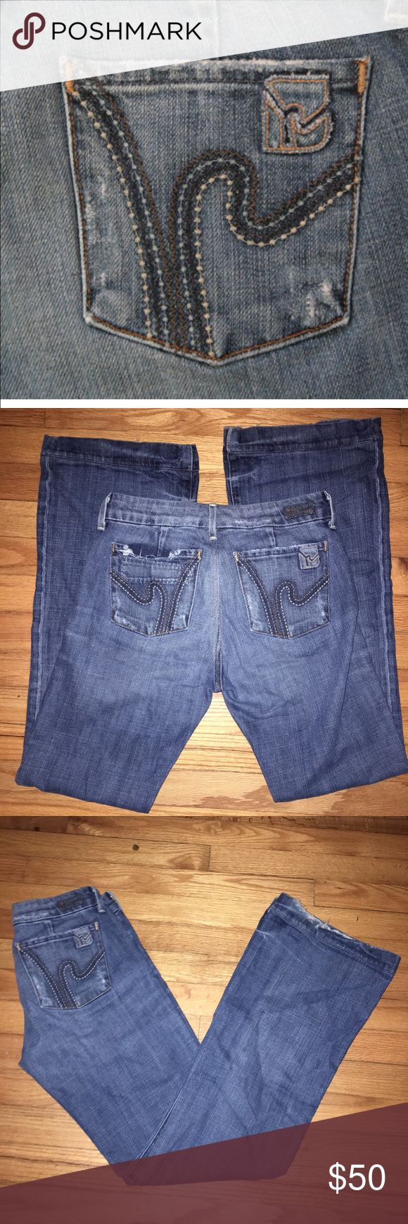 Citizens of humanity  jeans, size 28 Faye #003 stretch, low waist full leg. Gently used! Distressed style. Stretchy and comfortable! Citizens of Humanity Jeans Flare & Wide Leg