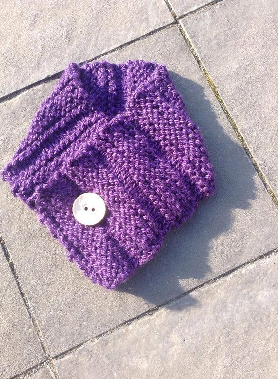 Purple Handmade Neck Warmer Textured Knit by RTMDesigns on Etsy