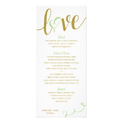 Modern Menus   Love Script (Gold & Pale Green ) - gold wedding gifts customize marriage diy unique golden