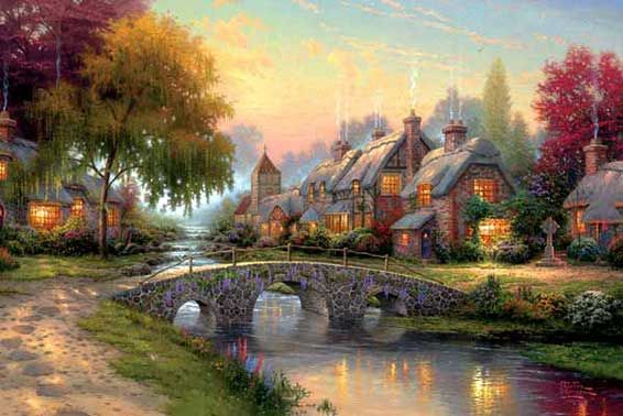 A Thomas Kinkade painting. Imagine living in a little place like this. Magical!